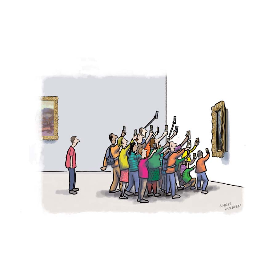 A cartoon showing people taking photographs in an art gallery