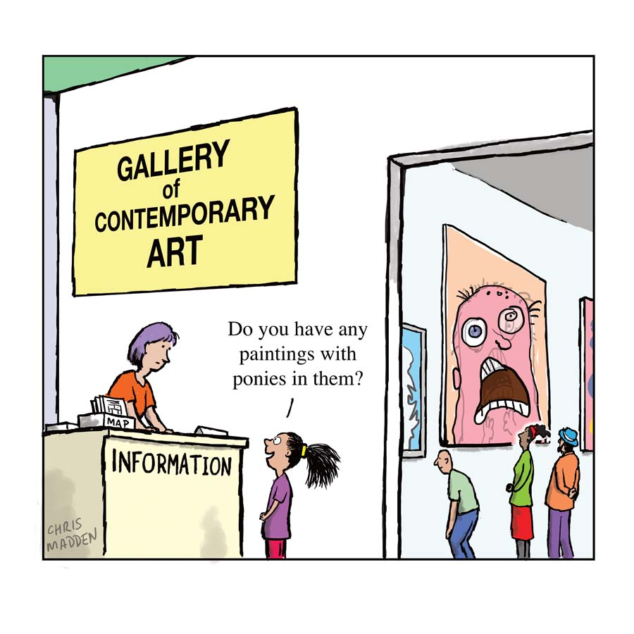 A cartoon that comments on the type of work that is frequently exhibited in contemporary art galleries.