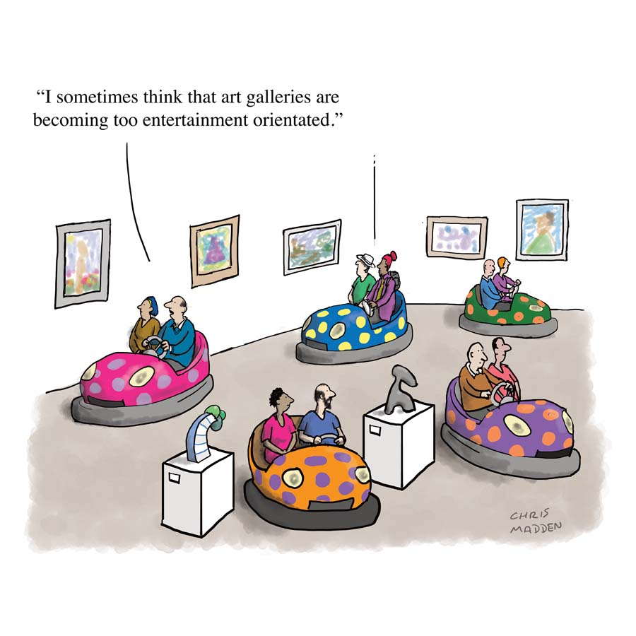A cartoon about the trend for art galleries to feature entertainment-orientated artworks, possibly as a way of attracting visitors who wouldn't normally visit art galleries.