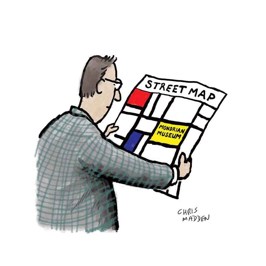 A cartoon about the art of Piet Mondrian, featuring a typical Mondrian work as a street map showing a Mondrian Museum.