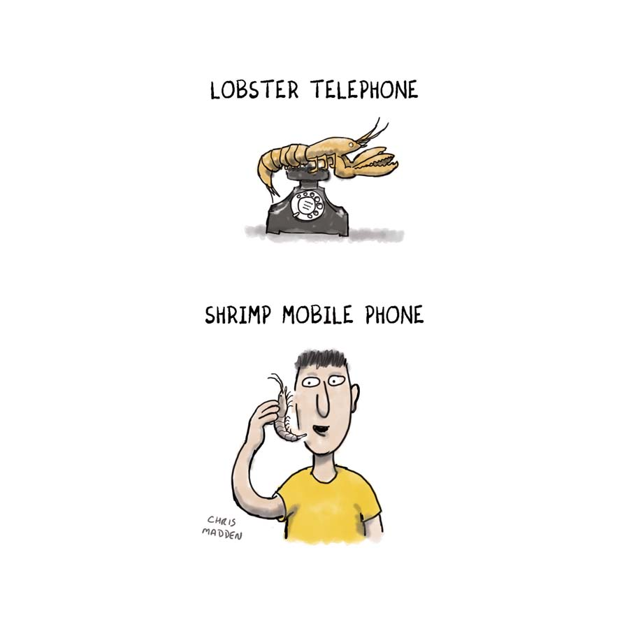 A cartoon featuring Salvador Dali's surrealist artwork, Lobster Telephone.