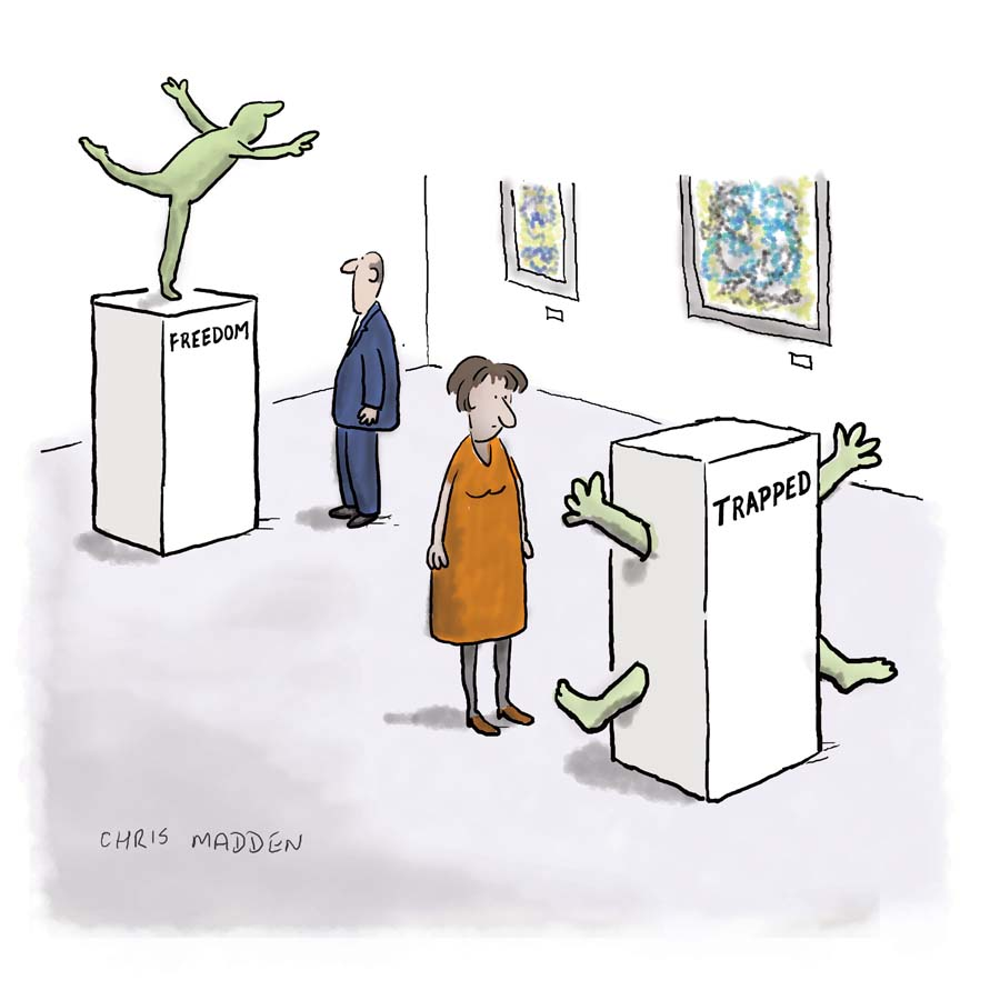 A cartoon about sculpture in modern and contemporary art.