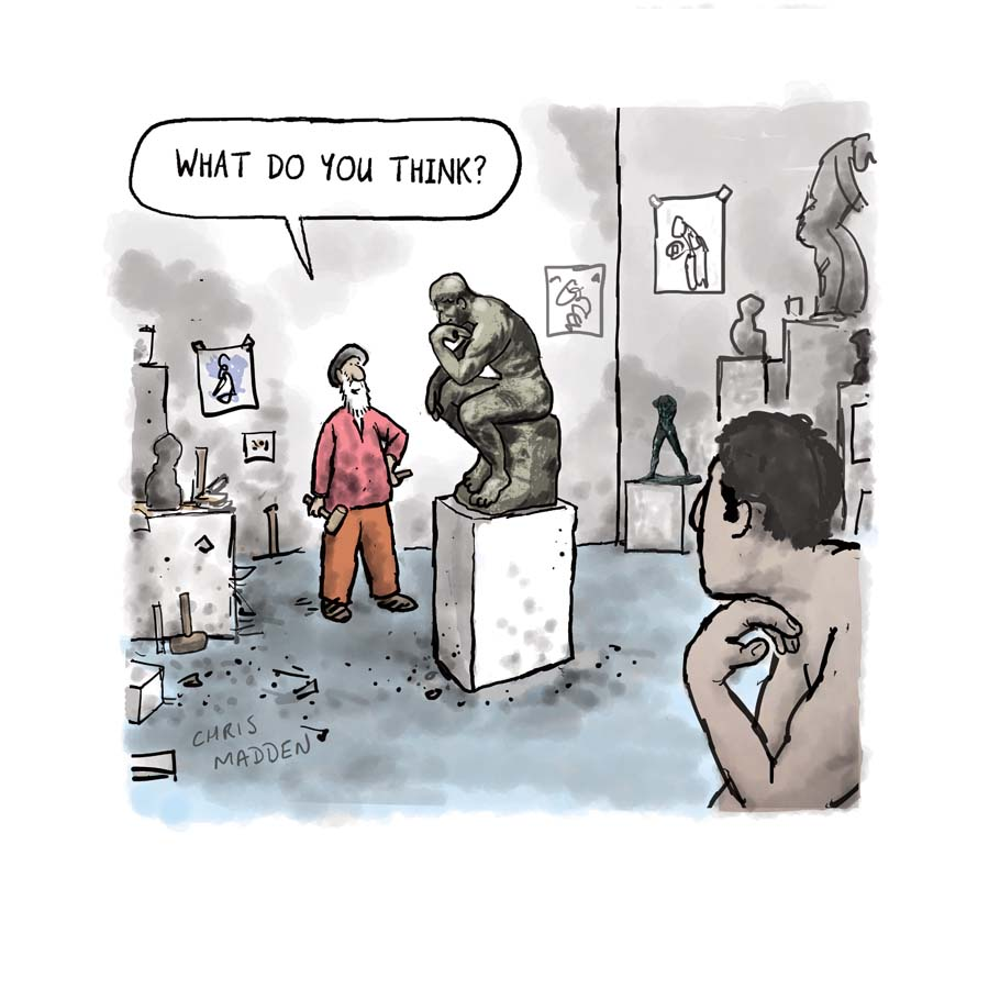 Cartoon about sculpture - Rodin, the Thinker