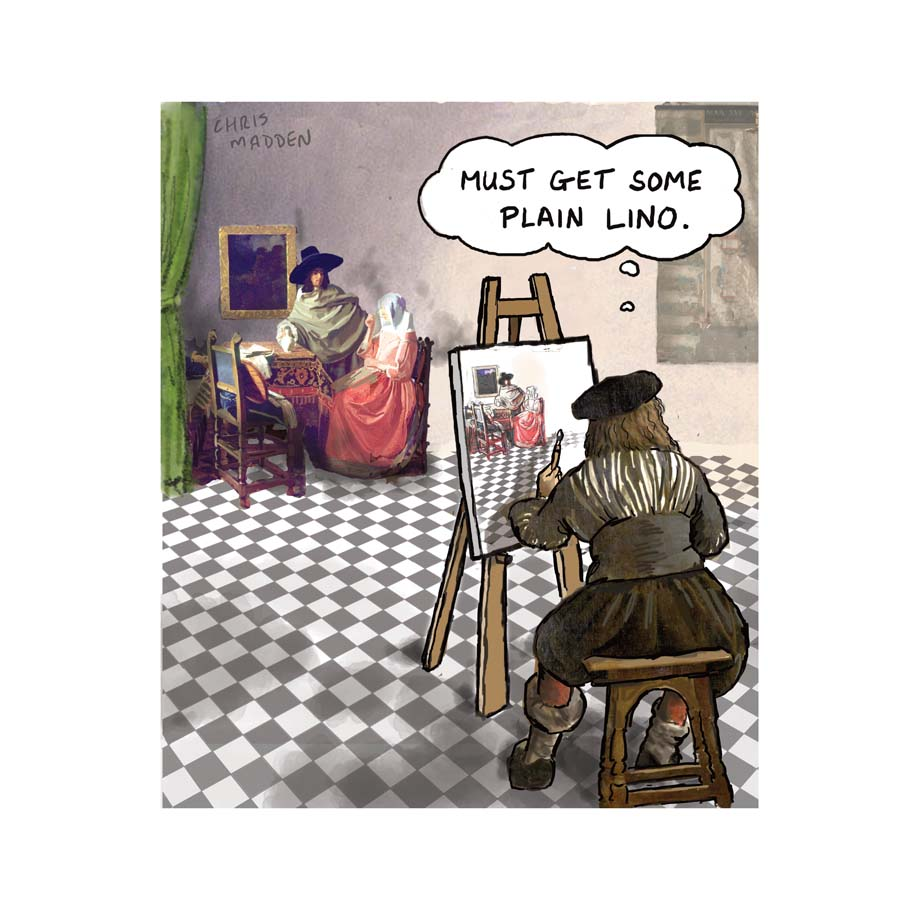 Vermeer cartoon (Glass of wine)