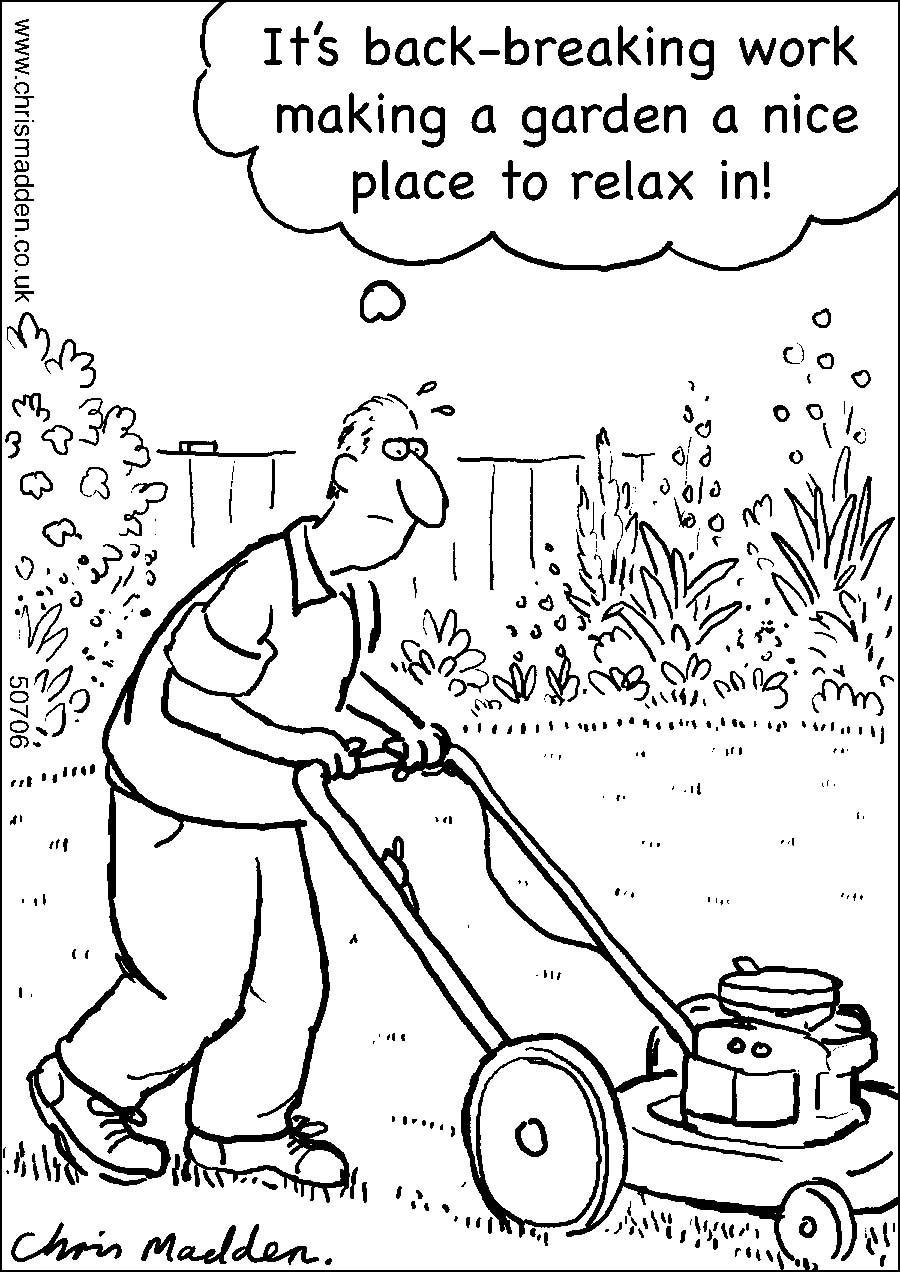 Gardening maintenance cartoon