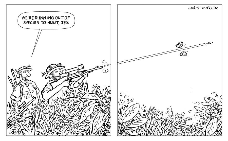 Species extinction cartoon