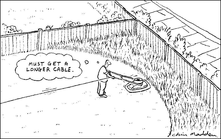 gardening cartoon -lawn mowing